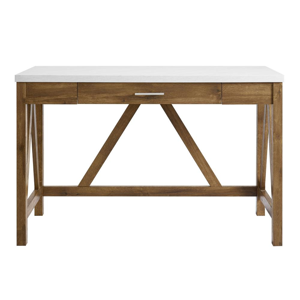 Preferred 46 in. Natural Walnut Base and White Marble Top A-Frame Desk  GS78
