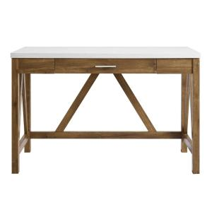 46 inch Natural Walnut Base and White Marble Top A-Frame Desk
