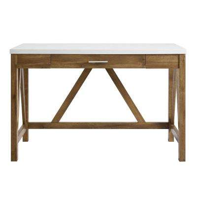 Charmant Natural Walnut Base And White Marble Top A Frame Desk
