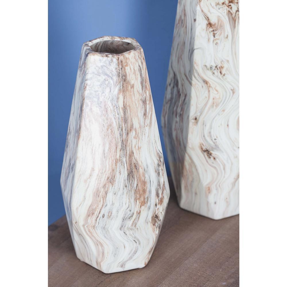 14 in. Beige Marble Paneled Decorative Vase