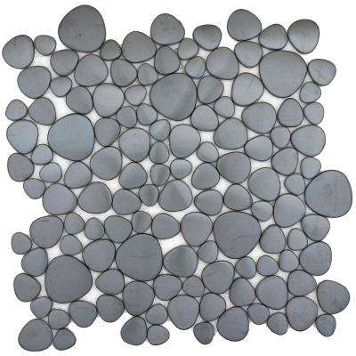 Gleam Graphite Matte 11.81 in. x 11.81 in. x 10mm Metal Products Mesh-Mounted Mosaic Tile (0.97 sq. ft.)