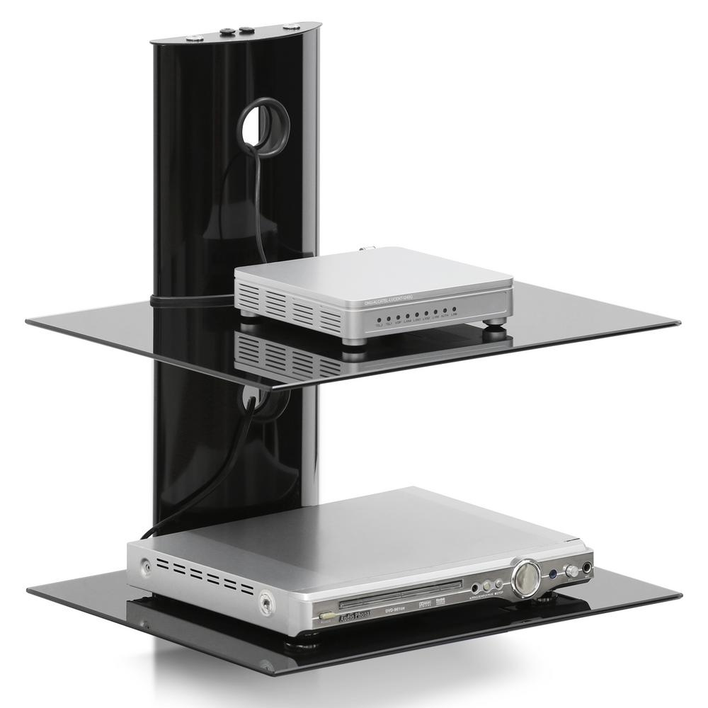 Modern 2-Tier Floating Wall Shelf for Media Accessories in Black