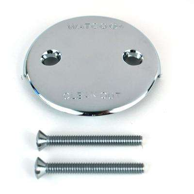 Two-Hole Bathtub Overflow Plate Includes Overflow and Screw in Chrome
