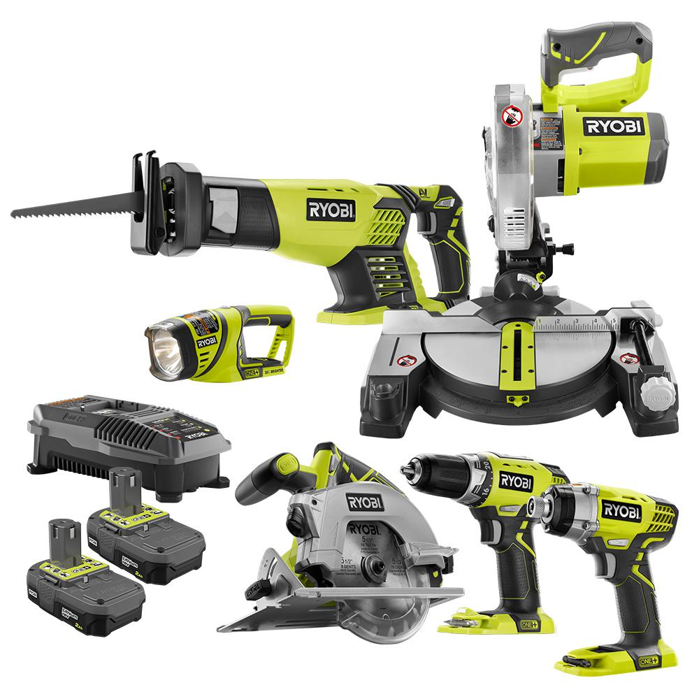 RYOBI 18-Volt ONE+ Lithium-Ion Cordless 6-Tool Combo Kit with (2) 2.0 Ah Batteries and (1) 18-Volt Dual Chemistry Charger