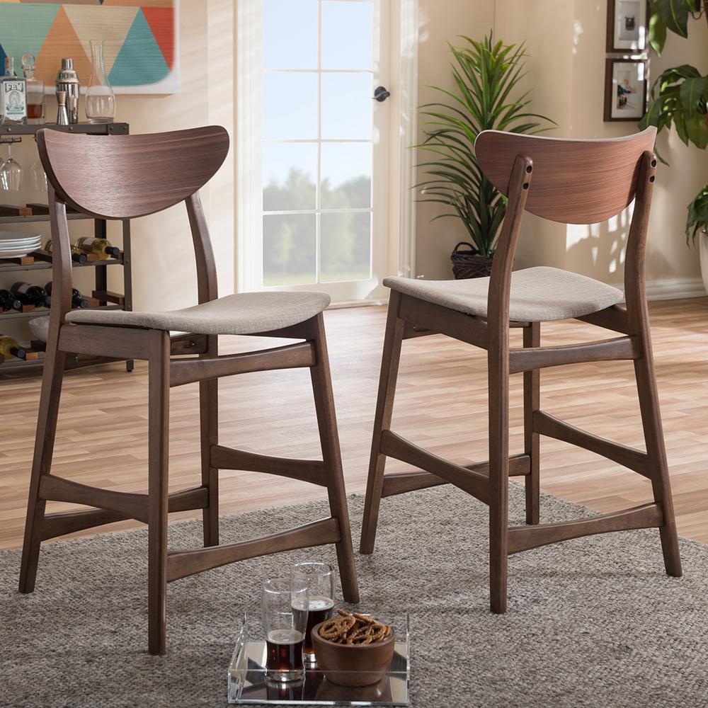 Baxton Studio Latina Gray Fabric and Medium Brown Wood 2-Piece Counter Stool Set