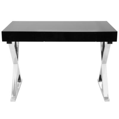44 in. Rectangular Black 1 Drawer Writing Desk with Built-In Storage