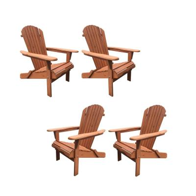 Classic Walnut Folding Wood Oceanic Adirondack Chair (4-Pack)