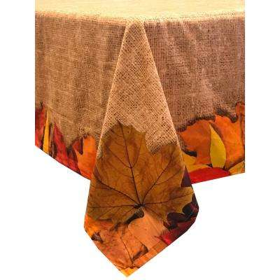 Autumn Leaves 60 in. x 84 in. Light Brown 100% Cotton Tablecloth