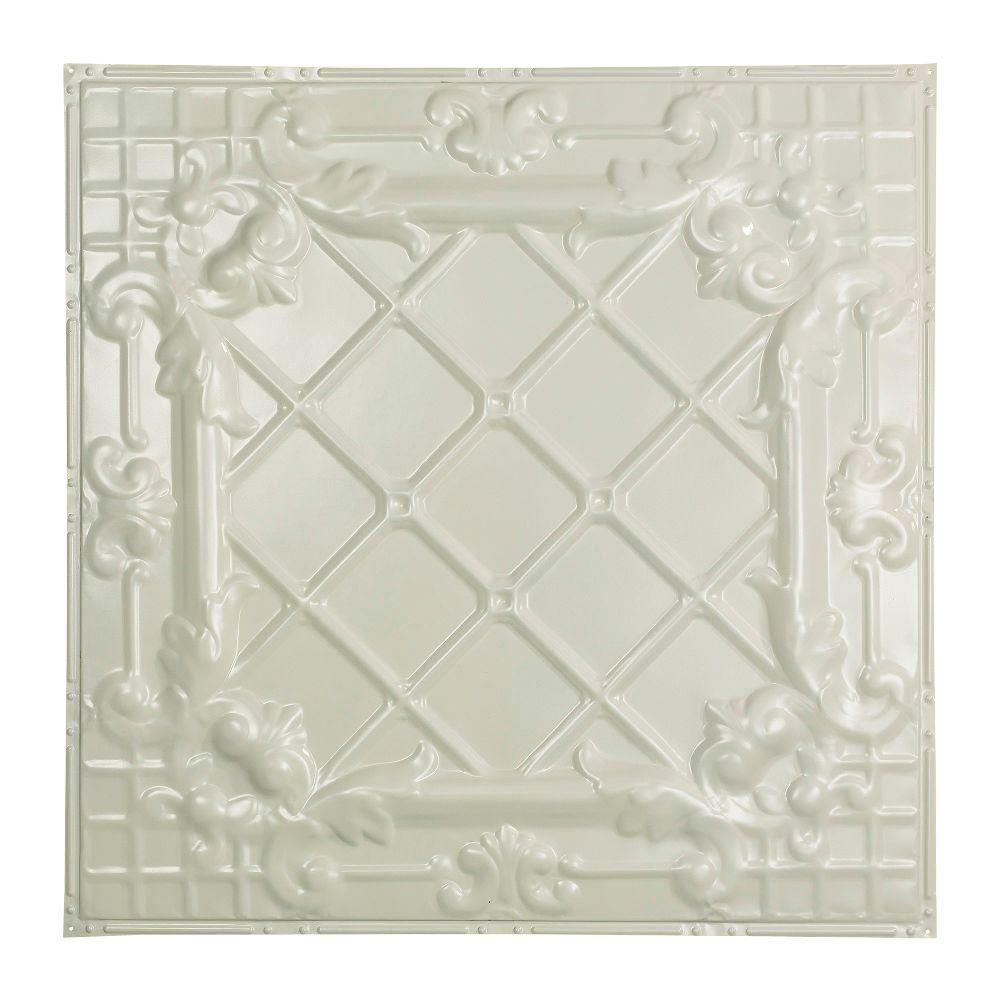 Great Lakes Tin Toledo 2 ft. x 2 ft. Nail-up Tin Ceiling Tile in Antique White
