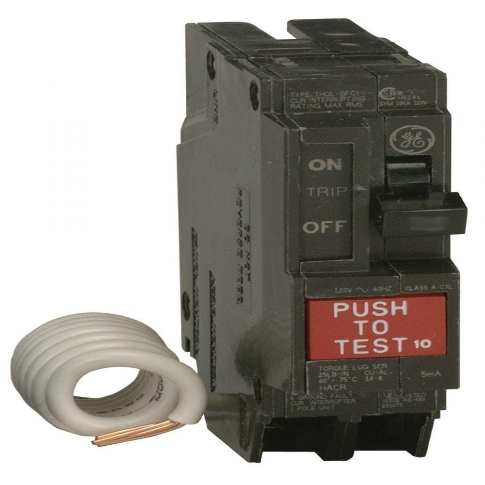 GE Q-Line 20-Amp Single Pole Ground Fault Circuit Breaker