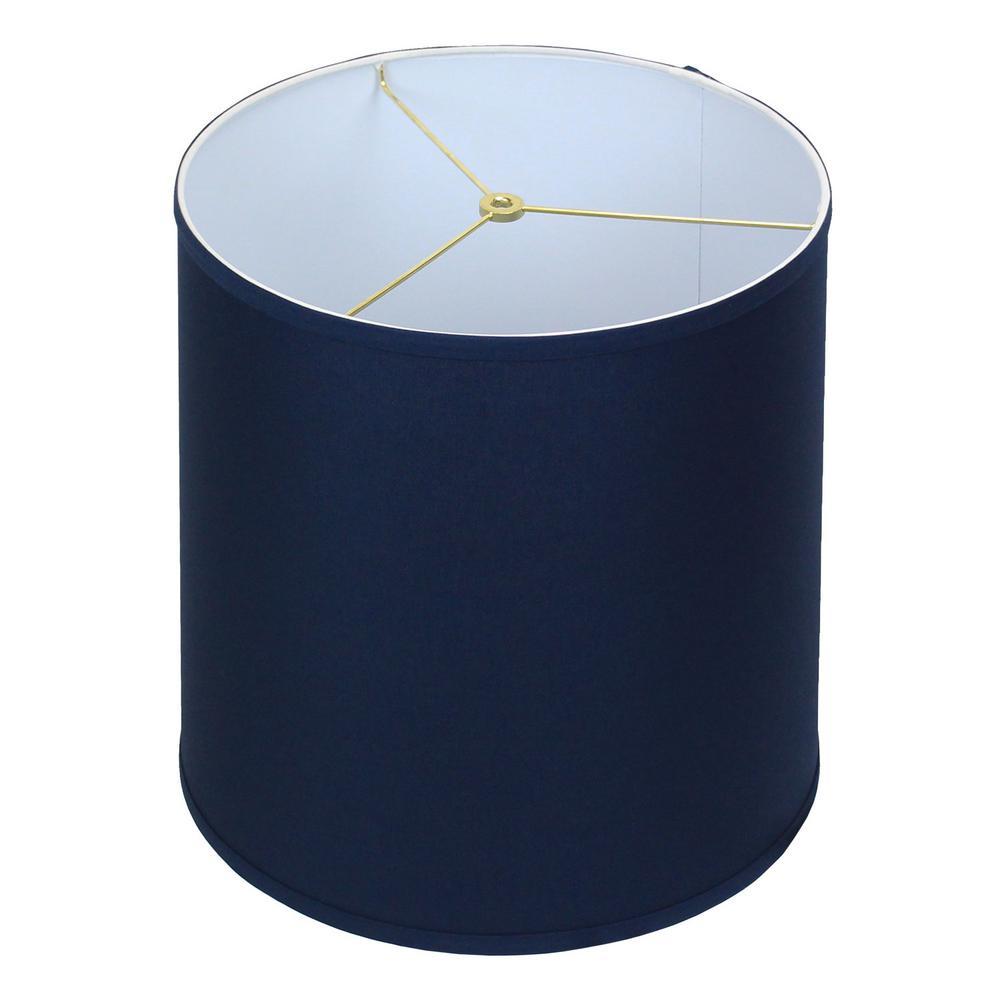 Fenchel Shades 14 in. Top Diameter x 15 in. Bottom Diameter x 15 in. Slant, Empire Lamp Shade - Linen Navy Blue