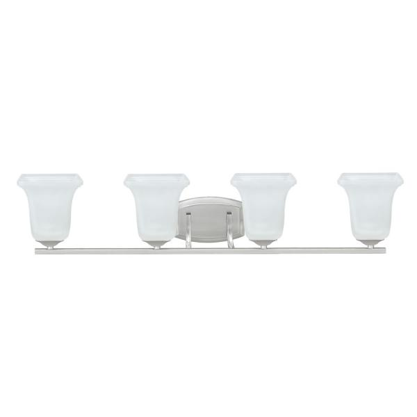 4-Light Brushed Nickel Vanity Light with Frosted Glass Shade