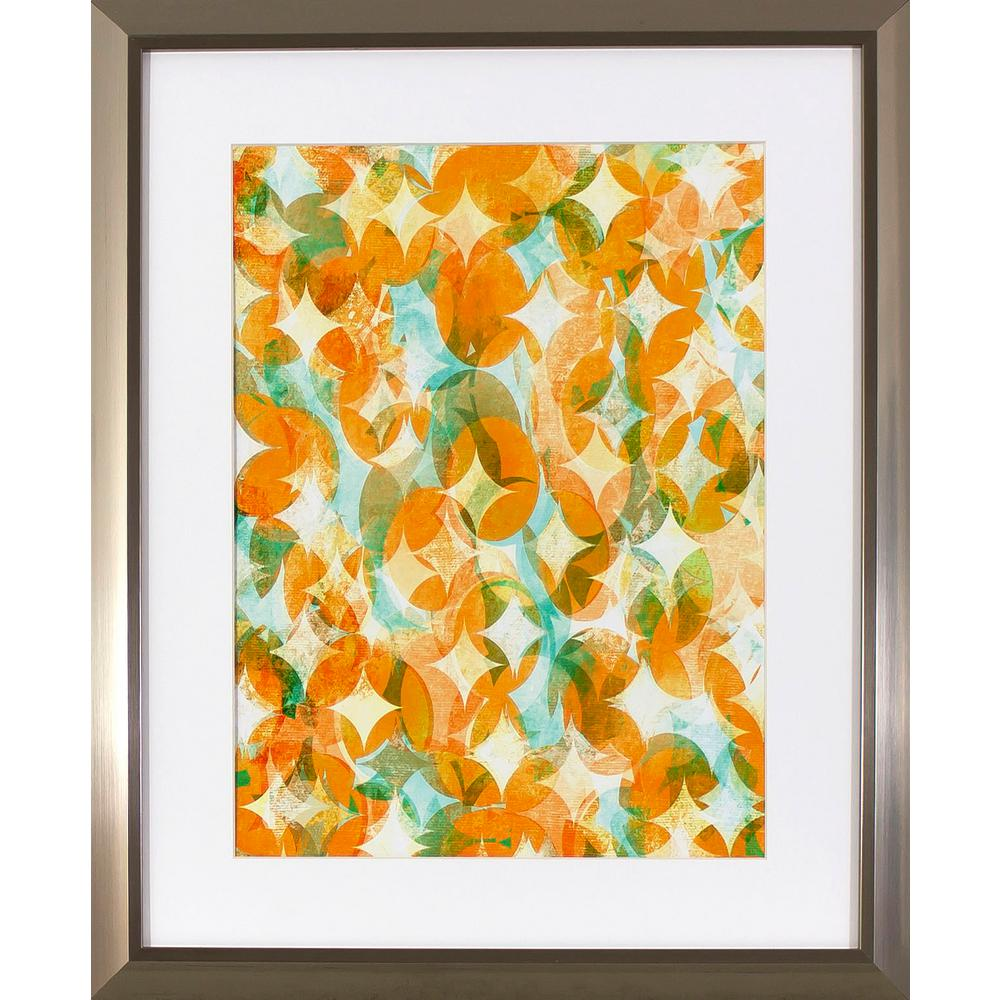 Decor Therapy 22 in. x 18 in. Overlapping Orange Printed Framed Wall ...