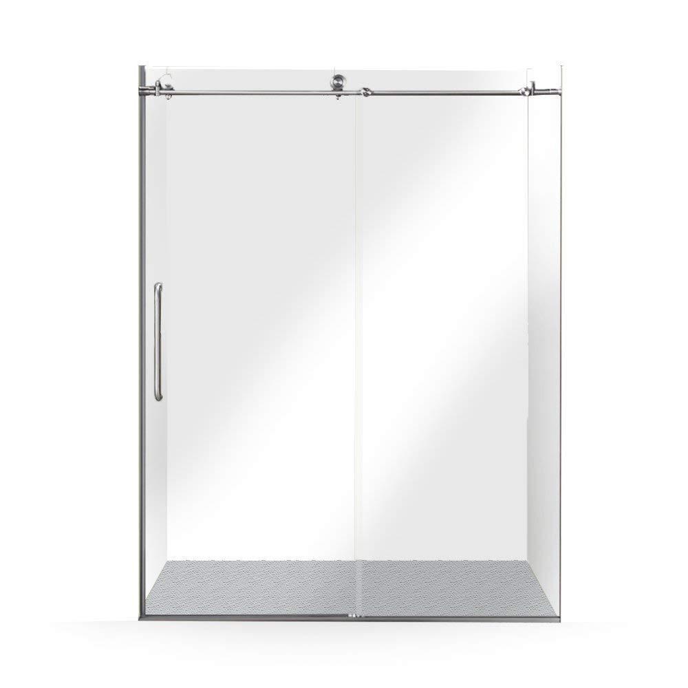 60 in. x 76 in. Frameless Sliding Shower Door in Brushed Nickel
