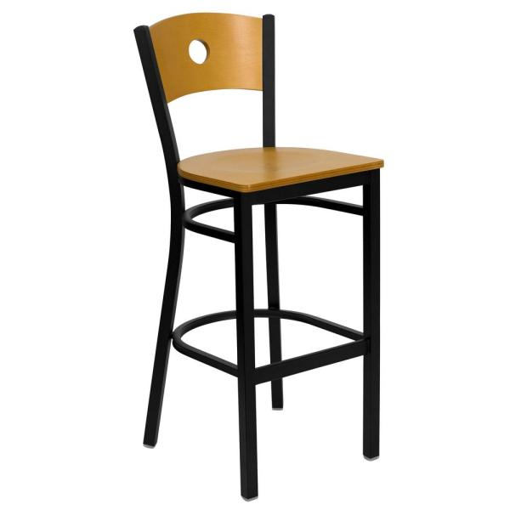 Flash Furniture Natural Wood Back/Natural Wood Seat/Black Metal Frame Bar Stool