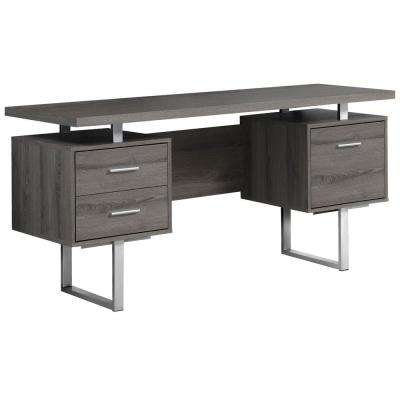 Dark Taupe Desk with Drawers