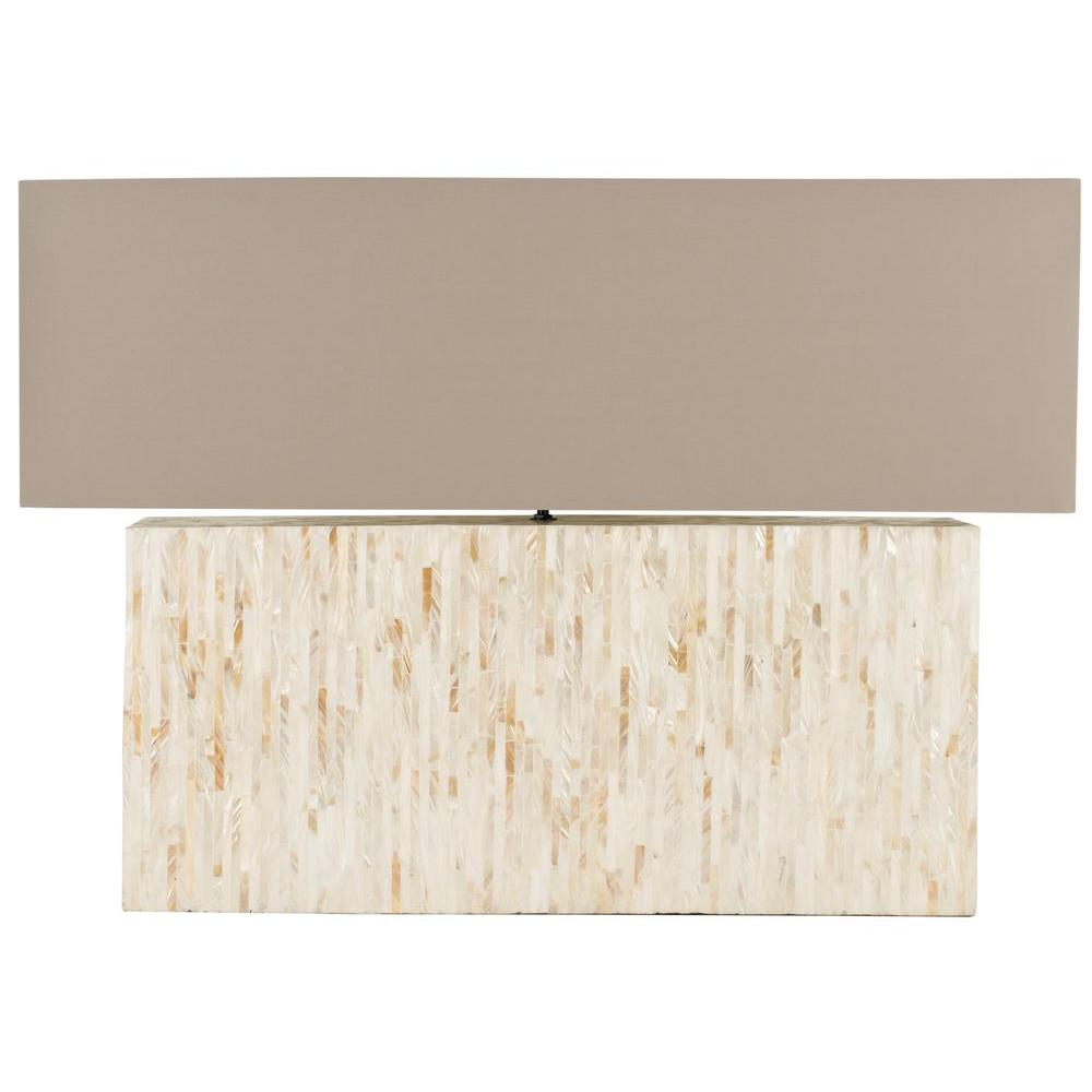 Ayers 15.8 in. Cream Line Pearl Lamp with Light Brown Mother
