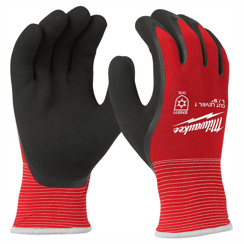 Milwaukee Milwaukee Large Red Latex Dipped Cut 1 Resistant Winter Work Gloves, Adult Unisex