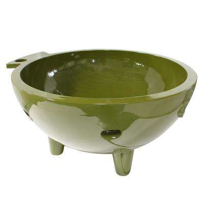 FireHotTub-OG 4-Persons 63 in. Acrylic Flatbottom Bathtub in Olive Green