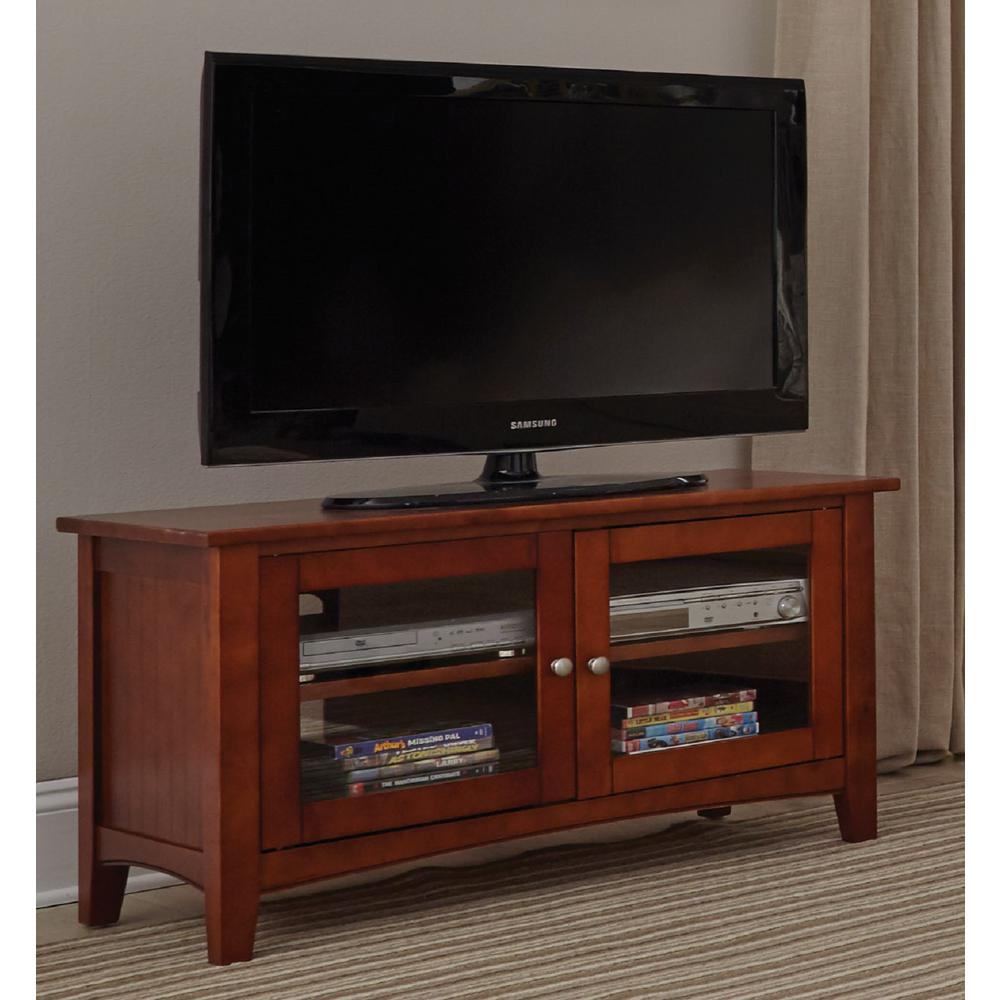 Alaterre furniture shaker cottage cherry storage entertainment center asca1060 the home depot Home furniture tv stands