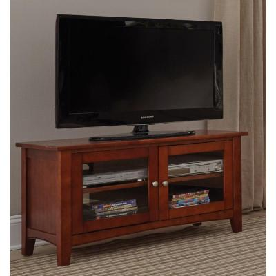 Shaker Cottage 36 in. Cherry Particle Board TV Stand Fits TVs Up to 42 in. with Storage Doors