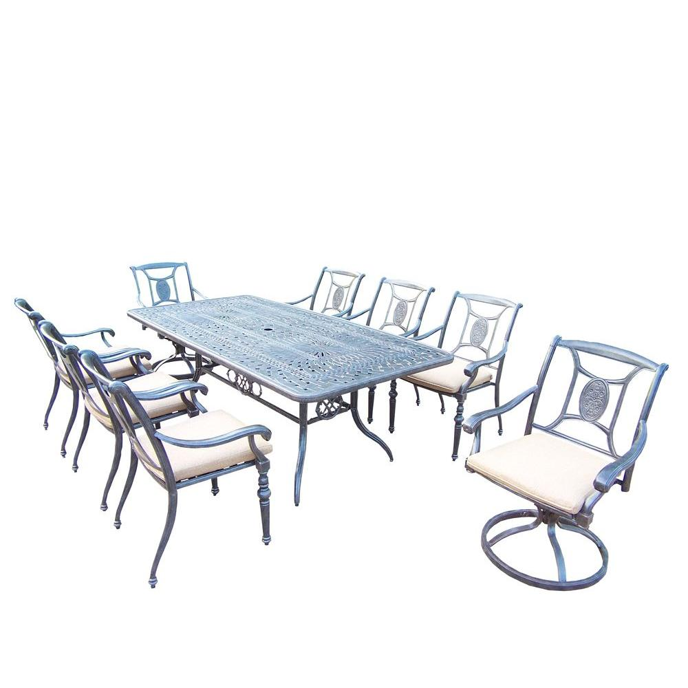 Aluminum 9-Piece Rectangular Patio Dining Set with SpunPoly Beige Cushions