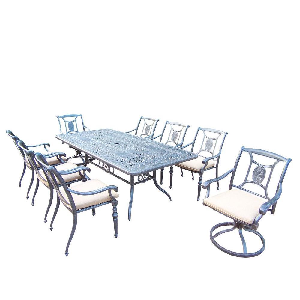 Oakland Living Rectangular Dining Set Spunpoly Beige Cushions