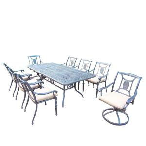 Oakland Living Aluminum 9-Piece Rectangular Patio Dining Set with SpunPoly Beige Cushions by Oakland Living