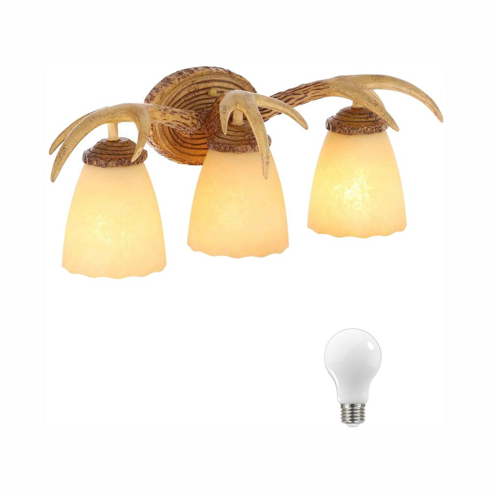 Hampton Bay 3-Light Natural Antler Vanity Light with Sunset Glass Shades, Dimmable LED Daylight Bulbs Included