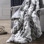 Gray Faux Fur Braided Throw