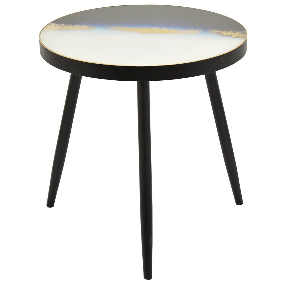 Wood Decorative Table Multicolor Top With Black Legs 10490 The Home Depot