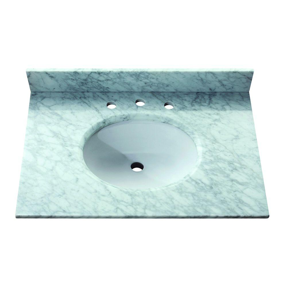 Avanity 31 in. Marble Stone Vanity Top in Carrara White without Basin