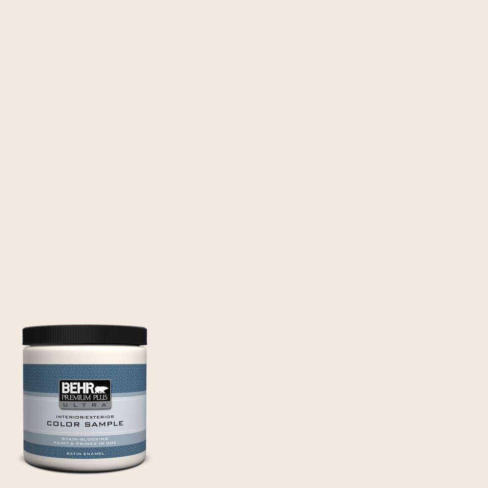 BEHR Premium Plus Ultra 8 oz. #12 Swiss Coffee Satin Enamel Interior/Exterior Paint and Primer in One Sample
