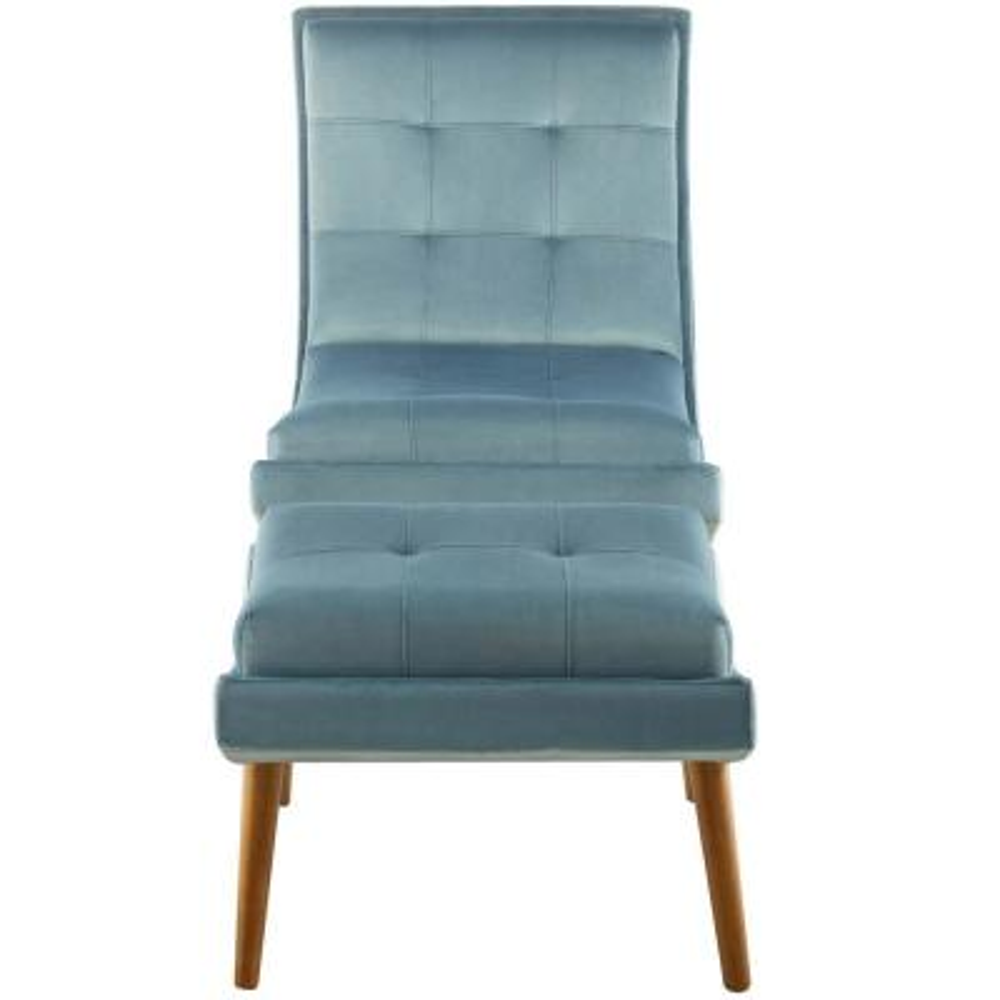 Ramp Light Blue Upholstered Performance Velvet Lounge Chair and Ottoman Set in