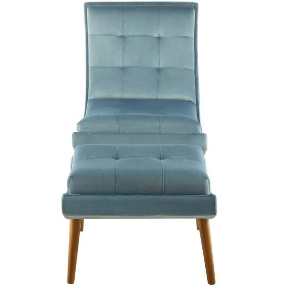 Modway Ramp Light Blue Upholstered Performance Velvet Lounge Chair and Ottoman