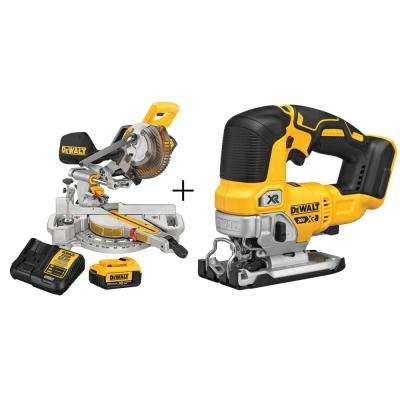 7-1/4 in. 20-Volt MAX Lithium-Ion Cordless Miter Saw with Bonus Cordless Jigsaw