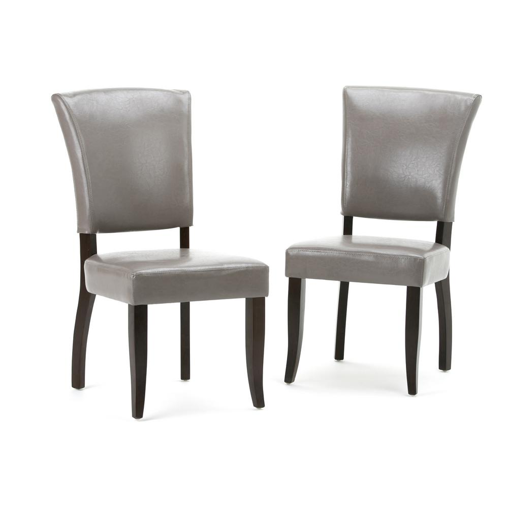 Simpli Home Joseph Taupe PU Faux Leather Dining Chair (Set of 2) 2