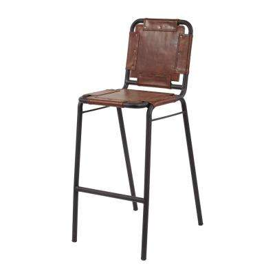 Industrial 42 in. Black Iron and Tobacco Leather Bar Stool
