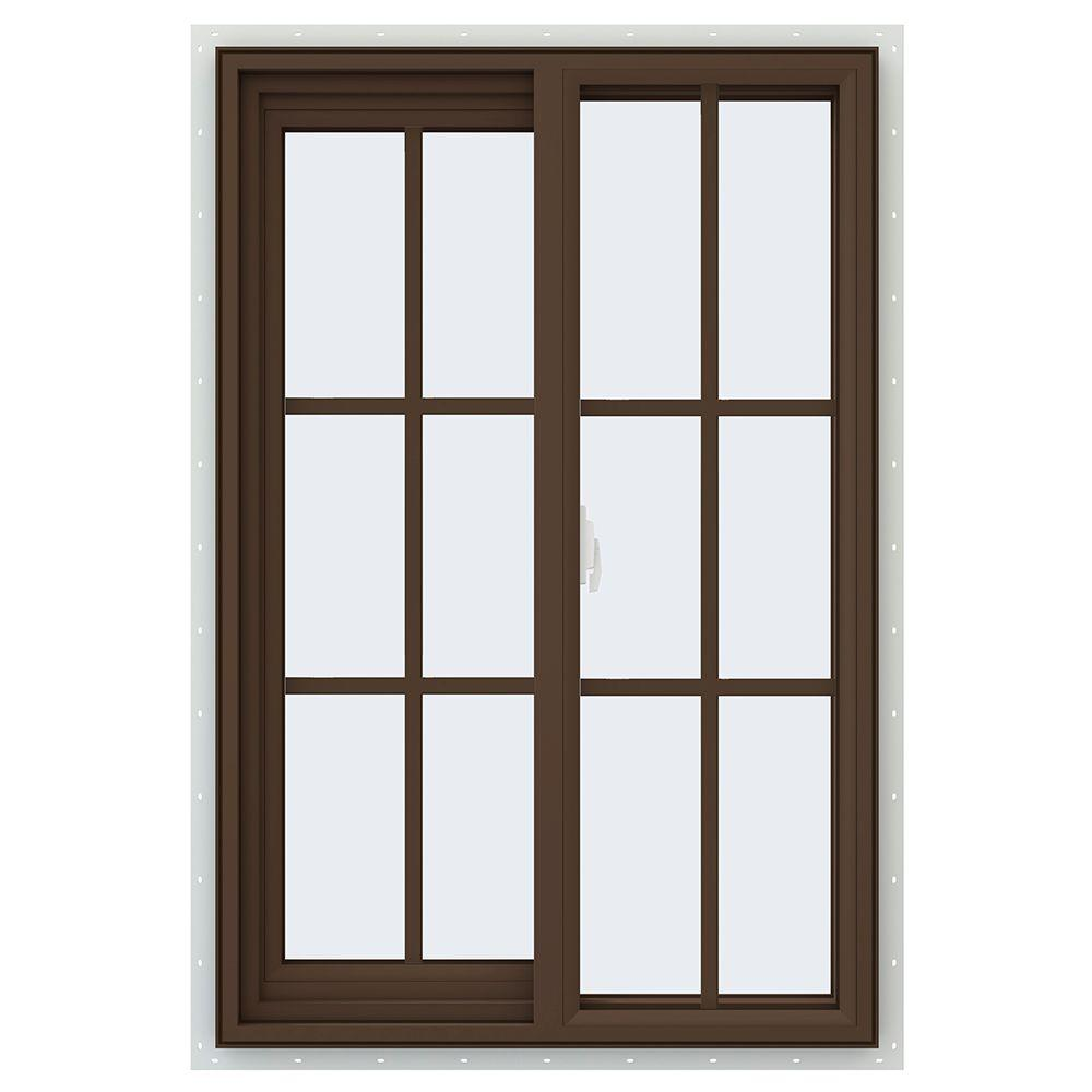 JELD-WEN 59.5 in. x 59.5 in. V-2500 Series Right-Hand Sliding Vinyl Window with Grids - Brown