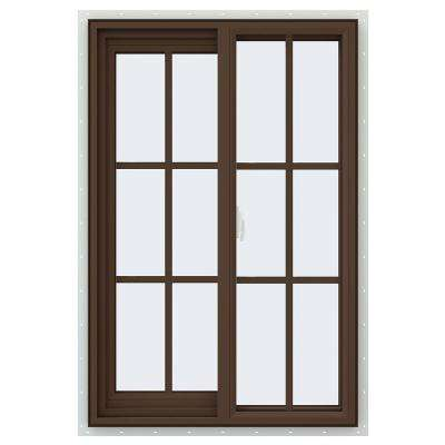 59.5 in. x 59.5 in. V-2500 Series Brown Painted Vinyl Right-Handed Sliding Window with Colonial Grids/Grilles