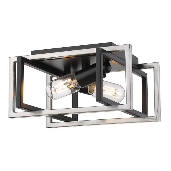 Tribeca 11.5 in. 2-Light Black with Pewter Accents Flush Mount
