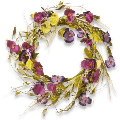 22 in. Poppy and Pansy Wreath