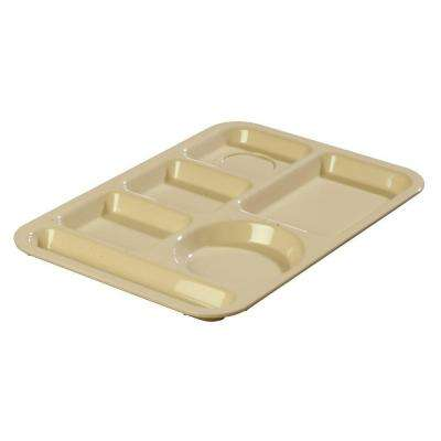 13.87x9.87 in. ABS Plastic Left Hand 6-Compartment Tray in Tan (Case of 24)
