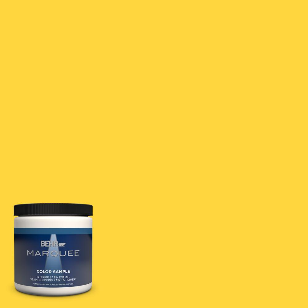 Behr Marquee 8 Oz 380b 6 Lemon Tart Satin Enamel Interior Exterior Paint And Primer In One Sample Mq32316 The Home Depot