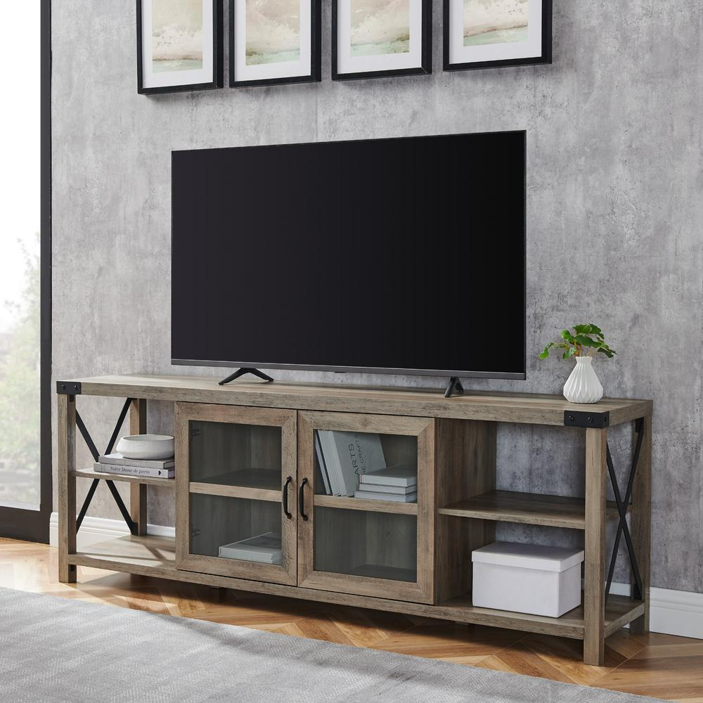 Welwick Designs 70 In Grey Wash Composite Tv Stand Fits Tvs Up To 78 In With Storage Doors Hd8118 The Home Depot