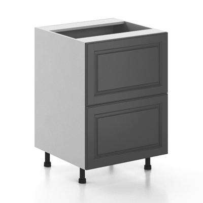 Ready to Assemble 24x34.5x24.5 in. Buckingham 2-Deep Drawer Base Cabinet in White Melamine and Door in Gray