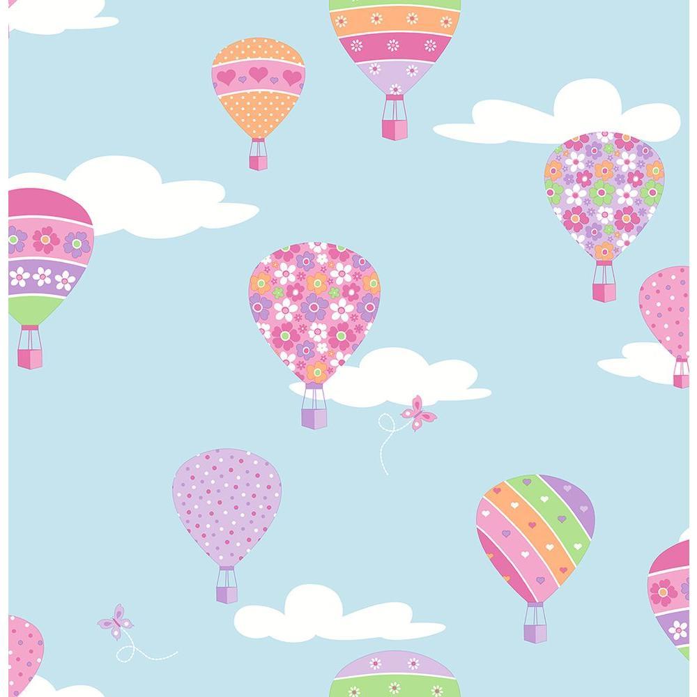 Brewster Blue Hot Air Balloons Wallpaper Sample