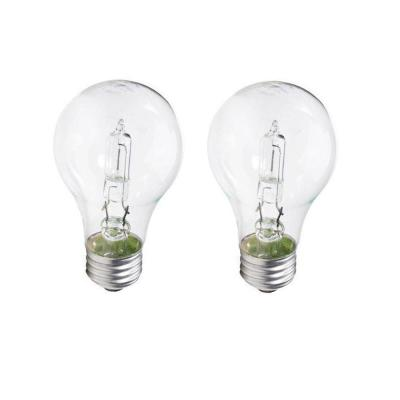 100-Watt Equivalent A19 Dimmable Clear Glass Eco Incandescent Light Bulb (Halogen) Soft White (2990K) (2-Pack)