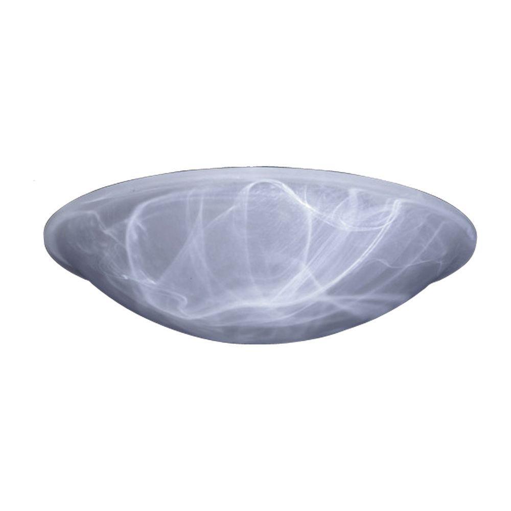 1-Light White Ceiling Flush Mount Light with Marbleized Glass