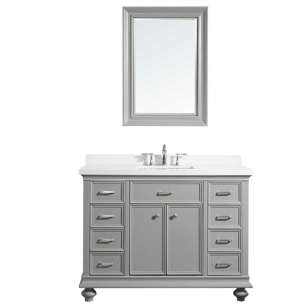 ROSWELL Charlotte 48 in. W x 22 in. D x 36 in. H Vanity in Grey with Quartz Vanity Top in White with White Basin and Mirror